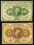 Fractional Currency:First Issue, Fr. 1230 5¢ First Issue About New. Fr. 1242 10¢ First Issue VF-XF.. ... (Total: 2 notes)