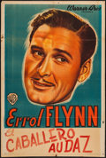 """Movie Posters:Miscellaneous, Errol Flynn (Warner Brothers, 1942). Argentinean Personality Poster (29"""" X 43""""). Miscellaneous.. ..."""