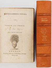 [Soame Jenyns] Miscellaneous Pieces in Verse and Prose. London: Dodsley, 1770. Third