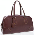 Luxury Accessories:Accessories, Prada Chocolate Brown Leather Large Bowling Bag with YellowStitching. ...
