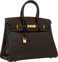 Luxury Accessories:Bags, Hermes 35cm Ebene Calf Box Leather Birkin Bag with Gold Hardware. ...