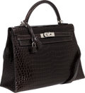 Luxury Accessories:Bags, Hermes 32cm Shiny Graphite Porosus Crocodile Sellier Kelly Bag withPalladium Hardware. ...
