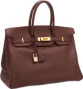 Luxury Accessories:Bags, Hermes 35cm Chocolate Courchevel Leather Birkin Bag with GoldHardware. ...