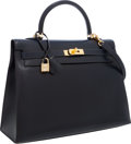 Luxury Accessories:Bags, Hermes 35cm Indigo Calf Box Leather Sellier Kelly Bag with GoldHardware. ...