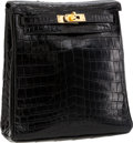 Luxury Accessories:Bags, Hermes 20cm Shiny Black Nilo Crocodile Kelly Ado Backpack Bag withGold Hardware. ...