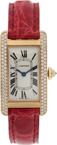 Luxury Accessories:Accessories, Cartier Diamond & 18k Yellow Gold Tank Americaine Watch with Red Alligator Strap. ...