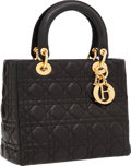 Luxury Accessories:Bags, Christian Dior Black Cannage Leather Lady D Bag with ShoulderStrap. ...