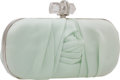 Luxury Accessories:Bags, Marchesa Mint Satin Ruched Long Minaudiere Clutch Bag. ...