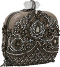 Luxury Accessories:Bags, Marchesa Satin & Jeweled Silver and Gray Minaudiere Clutch Bag....