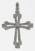 Estate Jewelry:Pendants and Lockets, Diamond, White Gold Cross Pendant. ...