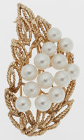 Estate Jewelry:Brooches - Pins, Cultured Pearl, Gold Pendant-Brooch. ...
