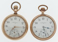 Timepieces:Pocket (post 1900), Two Elgin's 17 Jewels Open Face Pocket Watches Runners. ... (Total:2 Items)