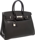 Luxury Accessories:Bags, Hermes 35cm Black Calf Box Leather Birkin Bag with PalladiumHardware. ...