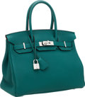 Luxury Accessories:Bags, Hermes 30cm Malachite Togo Leather Birkin Bag with PalladiumHardware. ...