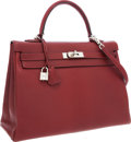 Luxury Accessories:Bags, Hermes 35cm Rouge H Chevre Leather Retourne Kelly Bag withPalladium Hardware. ...