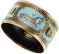 Luxury Accessories:Accessories, Hermes Large Blue & Gold Bangle with Horse and Tassel. ...