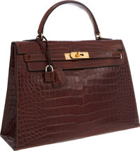 Hermes 32cm Shiny Etrusque Alligator Sellier Kelly Bag with Gold Hardware. Good Condition 12.5""