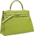 Luxury Accessories:Bags, Hermes 35cm Vert Anis Swift Leather Kelly Flat Bag with PalladiumHardware. ...