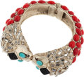 Luxury Accessories:Accessories, Chanel Silver Lion Head Cuff Bracelet with Diamante Baguettes, Coral & Turquoise. ...