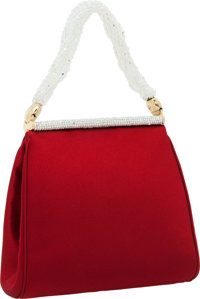 Judith Leiber Red Satin Evening Bag with Beaded Handle and Crystal Detail