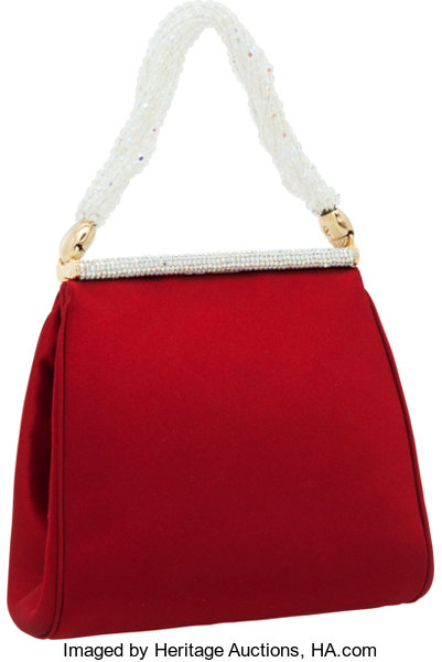 f26e7589b4 Judith Leiber Red Satin Evening Bag with Beaded Handle and | Lot ...