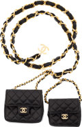 Luxury Accessories:Accessories, Chanel Double Mini Leather Flap Bags Belt. ...