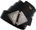 Luxury Accessories:Accessories, Hermes Black Ardennes & Calf Box Leather Belt with SterlingSilver Toureg Buckle. ...