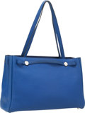 Luxury Accessories:Bags, Hermes Blue Sapphire Fjord Leather Kabana Bag with PalladiumHardware. ...