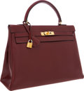 Luxury Accessories:Bags, Hermes 35cm Rouge H Calf Box Leather Retourne Kelly Bag with GoldHardware. ...