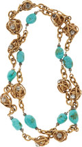 Luxury Accessories:Accessories, Chanel Gold Twisted Knot Necklace with Turquoise & Crystals....