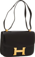 Luxury Accessories:Bags, Hermes 23cm Black Calf Box Leather Single Gusset Constance Bag with Gold Hardware. ...