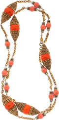 Luxury Accessories:Accessories, Chanel Gold Ornate Filligree Necklace with Orange Gripoix Beads....