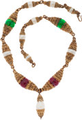 Luxury Accessories:Accessories, Chanel Gold Ornate Filligree Necklace with Red & Green Gripoix Beads. ...