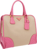 Luxury Accessories:Bags, Prada Pink Ostrich & Canvas Top Handle Bag with Gold Hardware....
