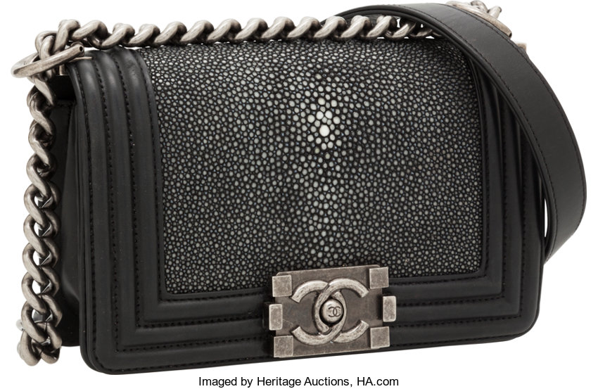 ded068ad0726 ... Luxury Accessories:Bags, Chanel Stingray & Black Lambskin Leather Boy  Bag with BrushedSilver ...