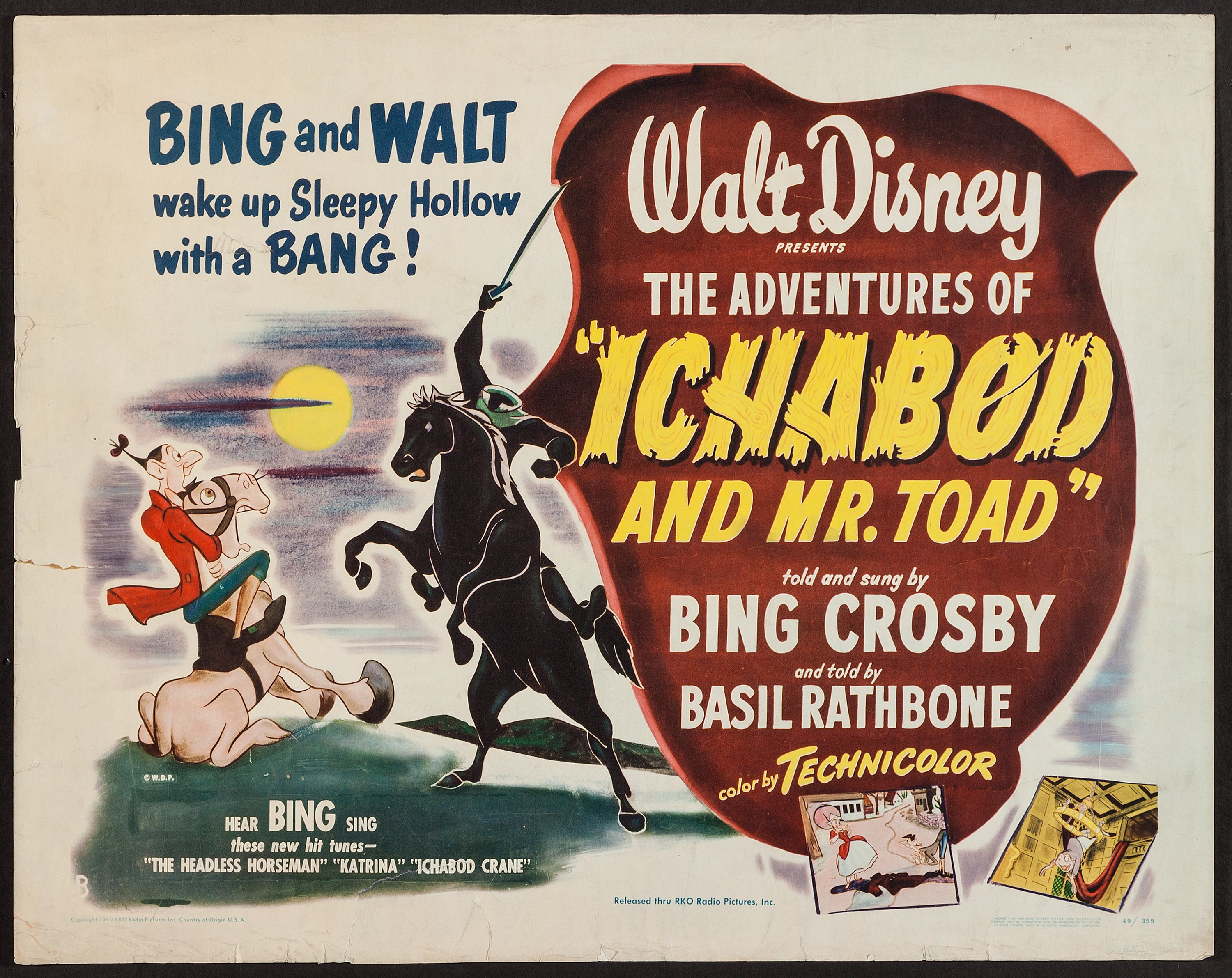 The Adventures of Ichabod and Mr. Toad (RKO, 1949). Half Sheet (22 ...