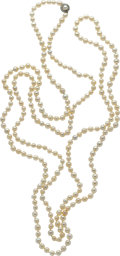 Estate Jewelry:Necklaces, Cultured Pearl, Diamond, Platinum-Topped Gold Necklace. ...