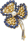 Estate Jewelry:Brooches - Pins, Diamond, Sapphire, Cultured Pearl, Platinum, Gold Brooch, Cartier....