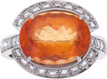 Estate Jewelry:Rings, TOPAZ, DIAMOND, WHITE GOLD RING, HUBERT...