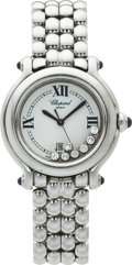 Estate Jewelry:Watches, Chopard Lady's Stainless Steel Diamond Happy Sport Wristwatch. ...