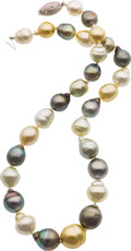 Estate Jewelry:Necklaces, Multi-Color South Sea Cultured Pearl, Diamond, White Gold Necklace....