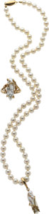 Estate Jewelry:Coin Jewelry and Suites, A CULTURED PEARL, DIAMOND, GOLD JEWELRY SUITE. ...