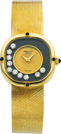 Estate Jewelry:Watches, Chopard Lady's Happy Diamond, Black Onyx, Gold Wristwatch. ...