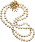 Estate Jewelry:Necklaces, Cultured Pearl, Diamond, Gold Necklace, Kurt Wayne. ...