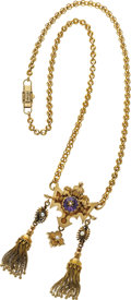Estate Jewelry:Necklaces, Victorian Amethyst, Seed Pearl, Enamel, Gold Necklace. ...