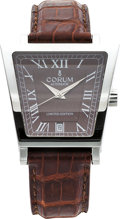 Estate Jewelry:Watches, Corum Gentleman's Limited Edition Stainless Steel Trapeze LeatherStrap Wristwatch. ...