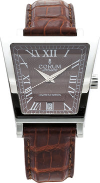 Corum Gentleman's Limited Edition Stainless Steel Trapeze Leather Strap Wristwatch