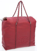 Luxury Accessories:Bags, Chanel Red Lambskin Leather Modern Chain Tote Bag with Gunmetal Hardware. ...