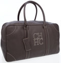 Luxury Accessories:Travel/Trunks, Carolina Herrera Dark Brown Leather Overnight Bag. ...