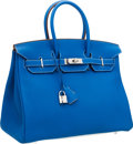 Luxury Accessories:Bags, Hermes Limited Edition 35cm Blue Mykonos & White Clemence Leather Eclat Birkin Bag with Palladium Hardware. ...
